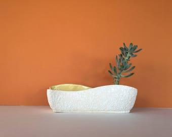 Vintage Ceramic Planter, Yellow Planter, White and Yellow Planter, Succulent Planter, Cactus Planter, Flower Pot, Yellow Flower Pot