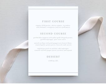 Wedding Menu / Botanical Minimalist Invitation Suite / Minimalist, Chic, Outdoor Wedding / #1141