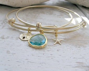 Bangle Set - Aquamarine Bangle and starfish Aqua bangle 14k Gold filled Sand Dollar Bangle Aquamarine Jewelry Bridesmaid gifts Beach Wedding