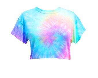 Tie Dye Crop Top - Tiedye cropped tshirt - Pastel Tie Dye - Pastel Rainbow - Hand Dyed - Unicorn colors - Festival