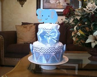 Boy diaper cake/Baby boy diaper cake:Baby shower gift/Centerpiece Elephant diaper cake