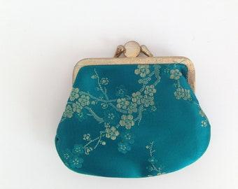 Kiss Lock coin Purse - Double Pockets Coin Purse - double kiss lock purse - Kiss lock purse - Flowers coin purse - Metal Frame Purse