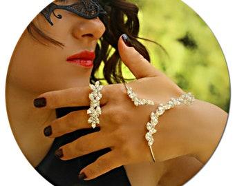 Hand Bracelet-Ring Bracelet-Stackable Bracelet-Unique Bracelet-Hand Cuff Bracelet-Stone Bracelet-Hand Chain-Chain Ring Bracelet-Silver Ring