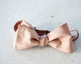 Bright Rose Gold Raw Silk Bow Tie