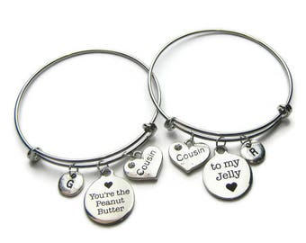 2 You re The Peanut Butter To My Jelly Bangle Bracelets, 2 Cousins Bracelets, Cousins Bangles, Bracelets For Cousins ,Personalized