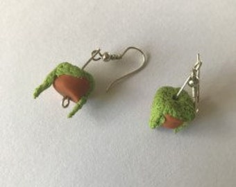 Hanging pot plant earrings