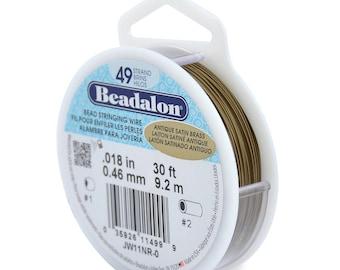 Beadalon Bead Stringing Wire 49 strand .015-0.38MM 30 ft 9.2M BEST FLEXIBILITY