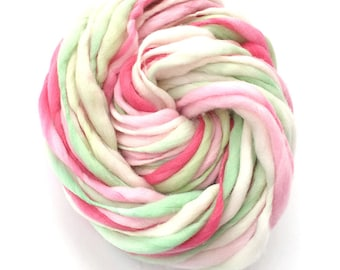 Hand spun yarn, super bulky, in thick and thin merino wool - 50 yards, 3.2 ounces/91 grams