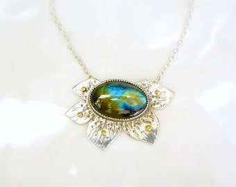 Labradorite Poinsettia - Sterling Silver, 14k Gold, One of a Kind
