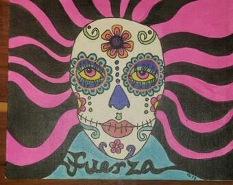 Original water color, whimsical, painting on 8x10 Canvas panel Sugar Skull (Calavera) Dia de Los Muertos Fuerza - Strength