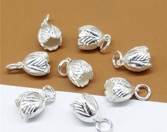 5 Sterling Silver Flower Budding Charm, Sterling Flower Charm, Flower Charm for Necklace Bracelet Earring, 925 Silver Flower Charm - JH7