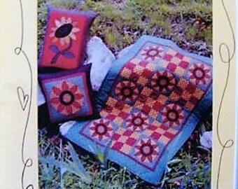 Sun Flower Quilt Pattern, Pieced Patchwork and Applique Pattern, Quilt Tablerunner, Pillows, Bloomin Minds, Our Garden Grows