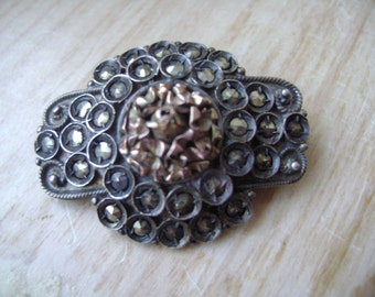 antique victorian silver, gold, and marcasite brooch