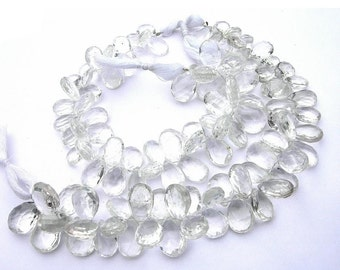 Rock Crystal quartz faceted pear briolettes Set of 16 Pieces - size 10x7 - 12x8mm approx