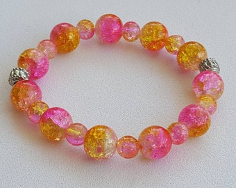 Pink and orange stretchy elastic bracelet
