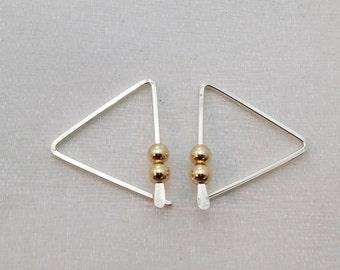 Triangle silver hoops - triangle earrings gold beads - simple modern wire earrings - minimalist earrings - geometric hoops - angle earrings