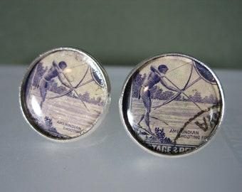 Cufflinks Vintage Genuine British Guiana 4 cents 1950s Stamp Bow Fishing 20mm Diameter Handmade Cuff Links