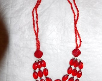 Hand beaded red three strand necklace with silver accents - gn10