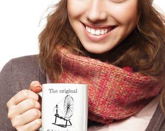 BEST SELLER ~ Funny Gift for Weaver ~ Original Fidget Spinner ~ Spinning Wheel ~ Coffee Mug ~ Spinners, Knitters, Crocheters, Fiber Artists