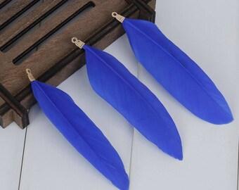 4 feathers Sapphire 8.5 cm x 3 cm pendant