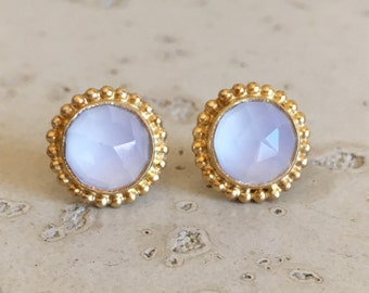 White Moonstone Boho Earring- Faceted White Bohemian Earring- Gold Stud Earring- June Birthstone Earring- Round Milgrain Bezel Earring