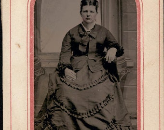 vintage photo tintype Woman in Beautiful Ruffle Dress
