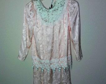 Vintage 80s Pink Skirt Set Size S
