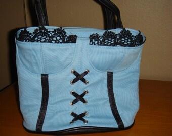 Blue and Black Bustier Purse Handbag