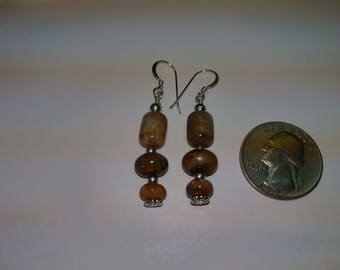 Sterling silver and coprolite (Dino dung) bead earrings