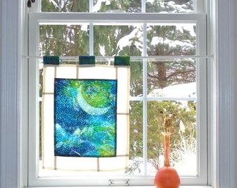 Waxing Moon Over Mountains ~ Bleached Art Batik Pojagi Patchwork Window Treatment ~ boho dorm ~ bohemian cafe ~ boudoir curtain