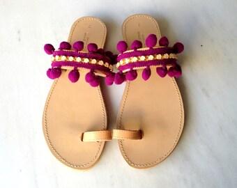 Pon pon and rhinestones sandals - Boho sandals - Bohemian pon pon sandals - Greek sandals - Womens sandals - Summer shoes - Pom pom sandals