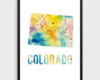 Watercolor Colorado Printable Poster   Colorado Poster, Colorado Art Print, Colorado State Art, Watercolor Art, State Art