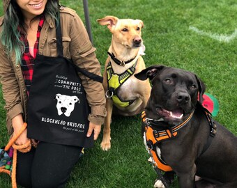 Pit Bull Cotton Tote Bag—Supports Pit Bull Rescue! Blockhead Brigade: Building Community Around the Dogs We Love