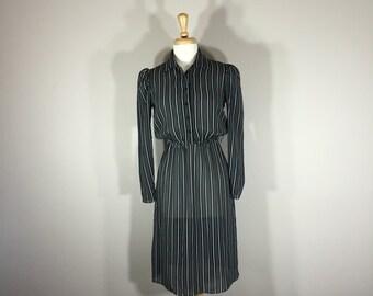sectaries dress lightweight  B D H dress, Pinstriped Dress, 70s dress, sheer dress, cap sleeve dress