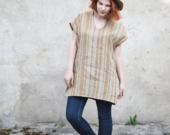 SALE!!!!!! Linen Tunic Top / Women's Top / Women's Linen Dress / Mustard Tunic