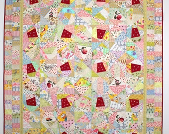 "Lap Quilt, Wall Quilt, Embroidered Quilt, Crazy Quilt, Tied Quilt, ""Thimbles"" 51"" x 63"" Quiltsy"
