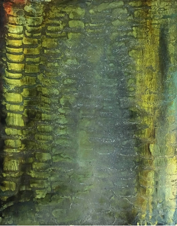 """Original Alcohol Ink Abstract Painting: """"Uromastyx"""" (11"""" X 14"""")"""