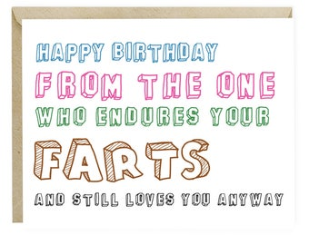 Funny bday card etsy funny birthday card for boyfriend husband wife girlfriend funny significant other cards humor farts voltagebd Choice Image