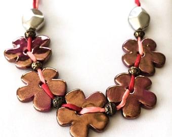 Ceramic Daisy Necklace, Red Daisy Necklace, Daisy Necklace, Daisy Jewellery, statement Necklace