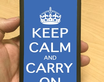 iPhone Case Keep Calm Carry On Blue iPhone 8/7/6 Case iPhone 8+/7+/6+