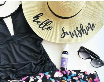 Hello Sunshine Beach Hat, Floppy Hat, Straw Hat, Ladies Sun Hat, Bachelorette Party, Girls Weekend Away