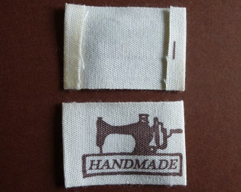 Handmade labels.  4.9cm x 2.5cm.  Set of 20 haberdashery, sewing supplies, craft supplies