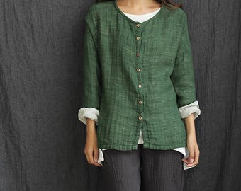 Women cotton and linen cardigan shirt – Loose Long-Sleeve Double-layer Linen and Cotton cardigan shirt