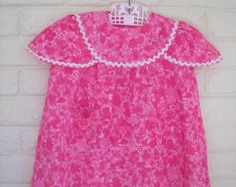 1960s Mod Pink Flower Power Dress, Size 2-3