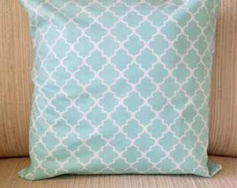 Teal Lattice Pattern Pillow Cover 14x14