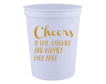 Cheers, Wedding Favor- 16 oz. Reusable Plastic Stadium Cup- Minimum Purchase of 12 Cups!