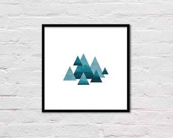 Mountains Geometric Print, Mountain Print, Geometric Print, Watercolor Wall Art, Teal, Abstract Wall Art, Large Poster, Digital Download