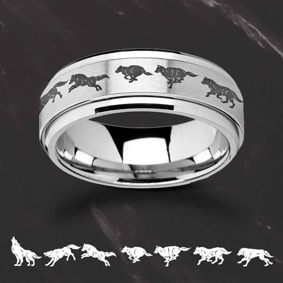 Laser Engraved Fidget Spinner Ring Running Wolf Scene Landscape Satin & Polished Edges - 8mm Available - Lifetime Size Exchanges