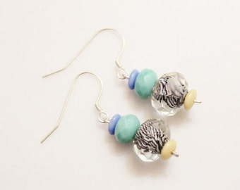 Czech Bead Earrings,Sterling Silver Turquise Earrings, Glass Bead Earrings, Gift Ideas Under 20
