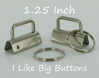 25 Sets - Silver - 1.25 INCH (32 mm) Key Fob Hardware with Split Rings Wristlet/Key Chains